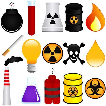 residuos toxicos: Iconos vectoriales: peligroso veneno, explosivos, productos químicos, contaminación del