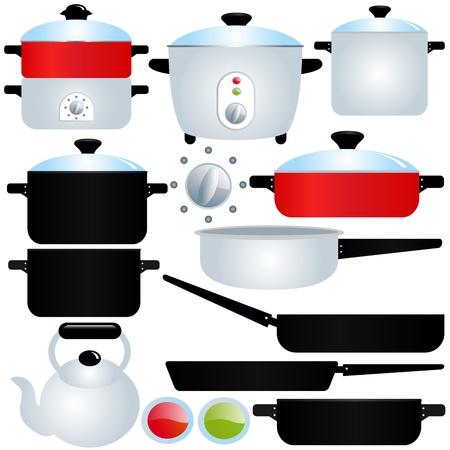ebullition: Ic�nes vectorielles: Pot couch� et Pan, Ustensiles de cuisine