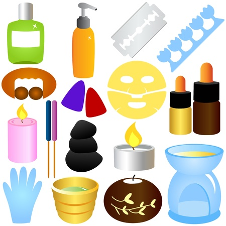 pedicure set: A set of Vector - Beauty tools, Spa Icons, Relaxation, Massage