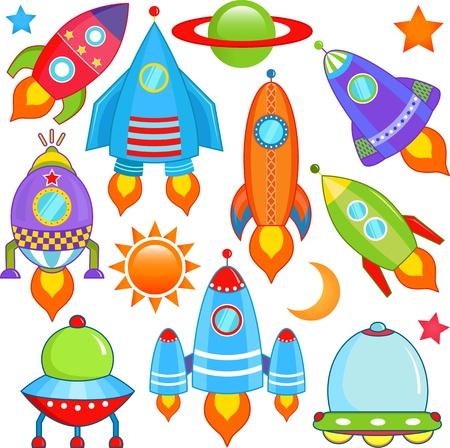 vecteur collection de vaisseau spatial, vaisseau spatial, Rocket, UFO