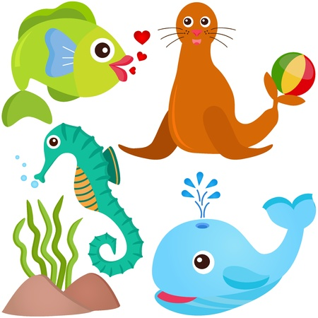 illustrator: A colorful set of cute Animal Vector Icons: Fish, Sea life