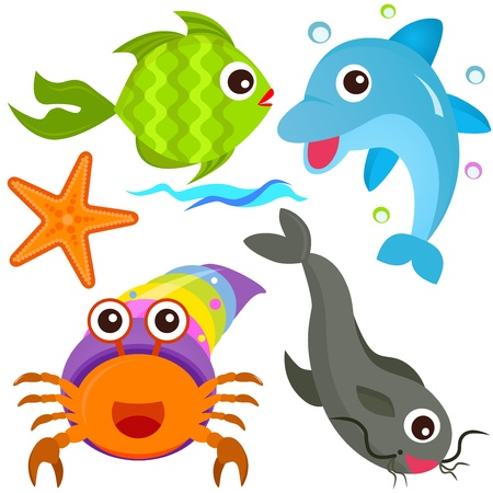 A colorful set of cute Animal Vector Icons: Fish, Sea life  Vector