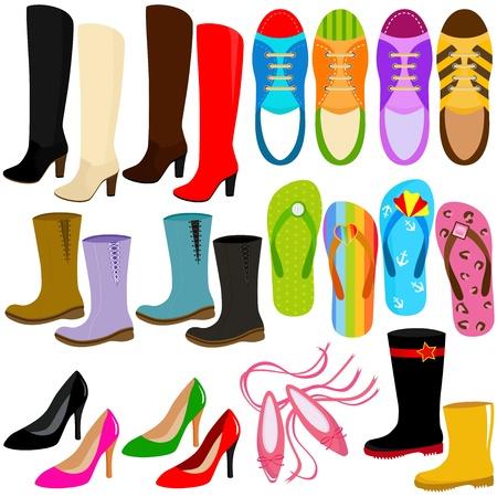 sandalia: Un conjunto de iconos vectoriales: los zapatos (botas, zapatos de tac�n alto, zapatillas de deporte)