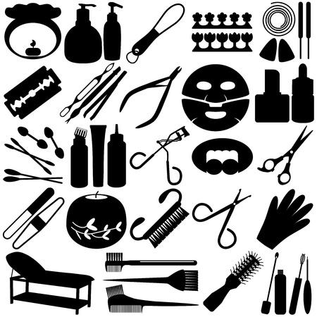 peigne et ciseaux: Un ensemble de Silhouette Vecteur - des outils de beaut�, Spa, Cosm�tiques Ic�nes Illustration
