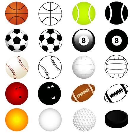 pelota rugby: Vector Deporte Juego: Bolas de colores y la silueta Vectores