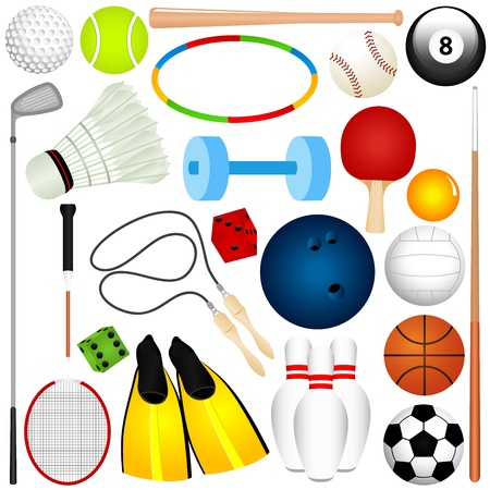exercise equipment: Colorful Vector Sports Set : Balls, exercise equipment