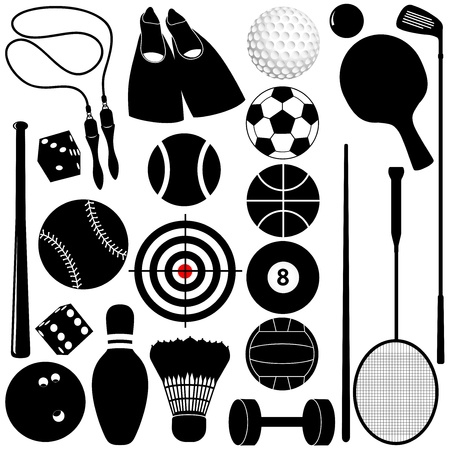golf clubs: Vector silhouette: Sports Set: Balls, other exercise equipments Illustration