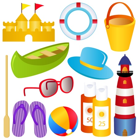 sunblock: colorful vector Icon Set : Summer, sand, sea, SPF, sandals Illustration