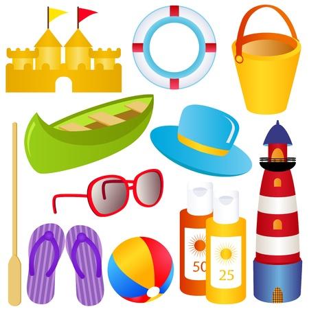 colorful vector Icon Set : Summer, sand, sea, SPF, sandals Иллюстрация