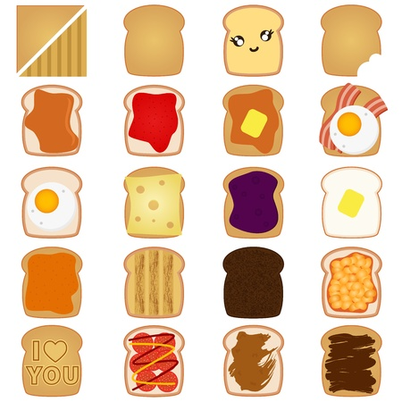 baked beans: A vector of Sliced White  Brown bread toast with jam, egg Illustration