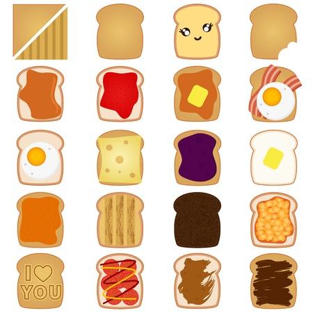 cacahuate: Un vector de pan en rodajas de pan blanco  marrón con mermelada, huevo