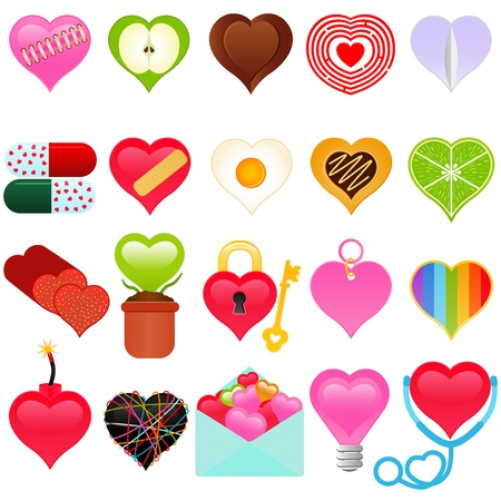 A vector collection of Valentine - colorful set of heart icons  Stock Vector - 12184965