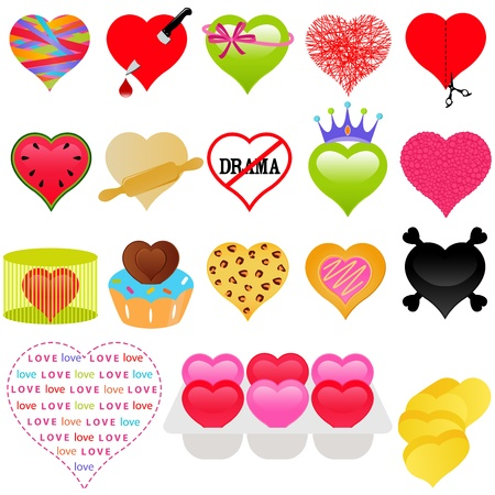A vector collection of Valentine - colorful set of heart icons  Vector