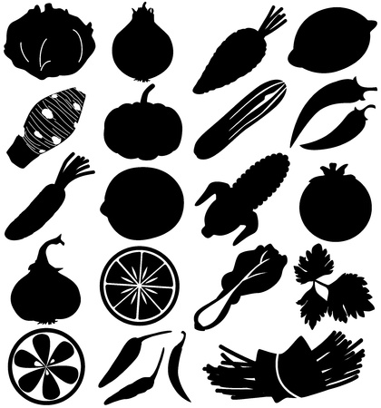 silhouette Vector Icons - Fruits, vegetable, food on white  Vector