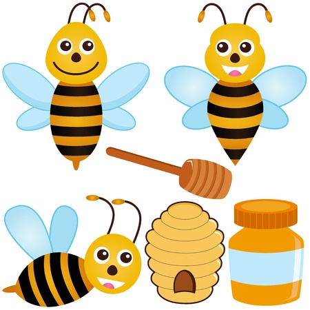 honey liquid: A colorful set of cute Vector Icons : Bee, Honey, Beehive  Illustration