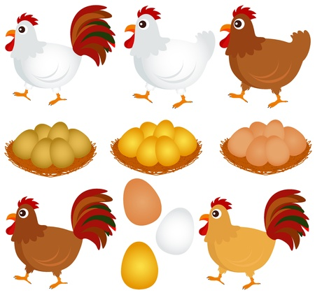 chicken and egg: Cute vector Icons : Chicken, Hen, Rooster isolated on white