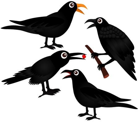 A set of cute Vector Icons : Black Birds - Crows  Vector