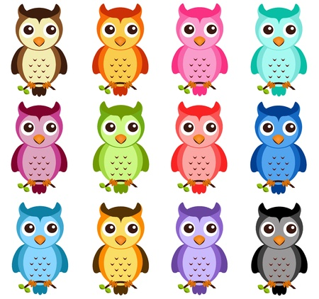 owl on branch: A colorful Theme of cute vector Icons: Night Owls on white Illustration