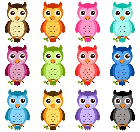 b�ho caricatura: Un tema de colores de iconos vectoriales lindos: Night Owls en blanco