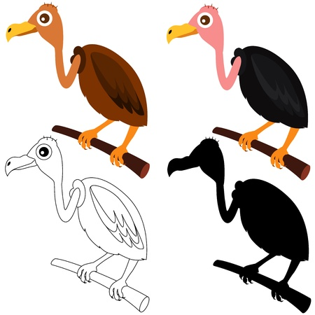 A Set of cute vector Icons : Vultures isolated on white Stock Vector - 12184902