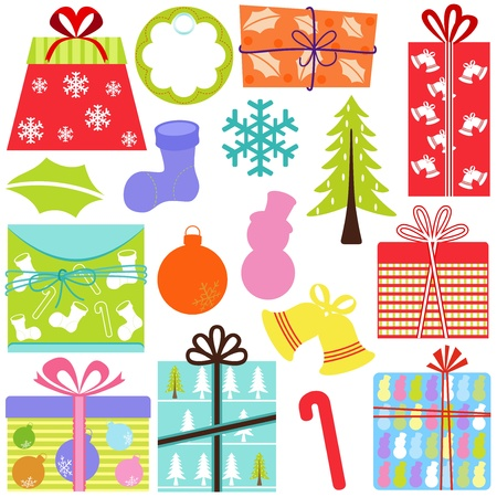 A set of simple and cute vector Icons : Gift Boxes (present), Christmas theme, pastel color isolated on white Vector