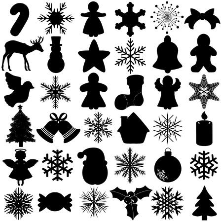 campanas: Una silueta perfecta del vector de copo de nieve Festival de Navidad s�mbolo aislado en blanco