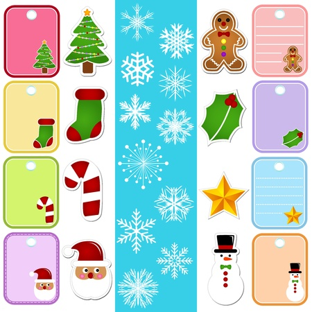 A colorful set of Vector Icons : Snowflake and Christmas Paper TagSticker  Vector