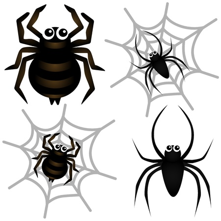 spider cartoon: A colorful Theme of cute vector Icons : Spider & Spider Web  Illustration