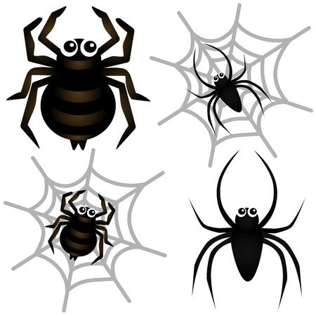 Ein farbenfrohes Theme von niedlichen Vektor-Icons: Spider & Spider Web