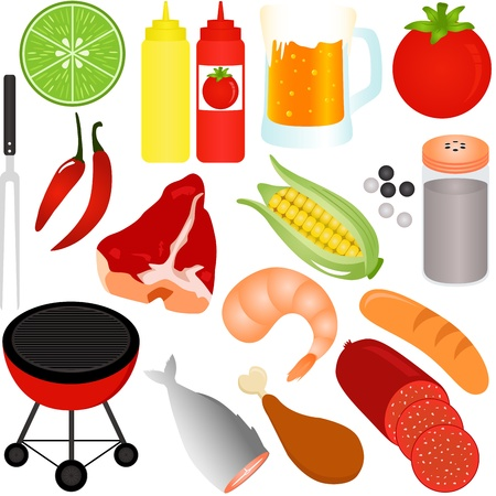 grill meat: A colorful Vector Icons : set of Barbecue (BBQ) theme isolated on white