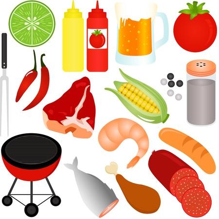 Een kleurrijke Vector Icons: set van Barbecue (BBQ) thema op wit wordt geïsoleerd