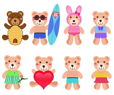 A colorful cartoon set of cute Vector Bears in different positions