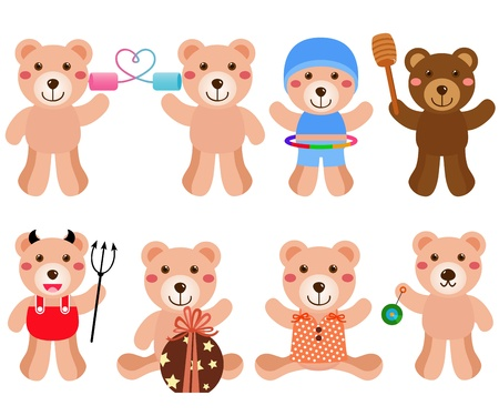 A colorful cartoon set of cute Vector Bears in different positions Stock Vector - 12184943