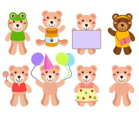 apple and honey: A colorful cartoon set of cute Vector Bears in different positions