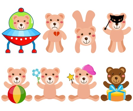 animal masks: A colorful cartoon set of cute Vector Bears in different positions