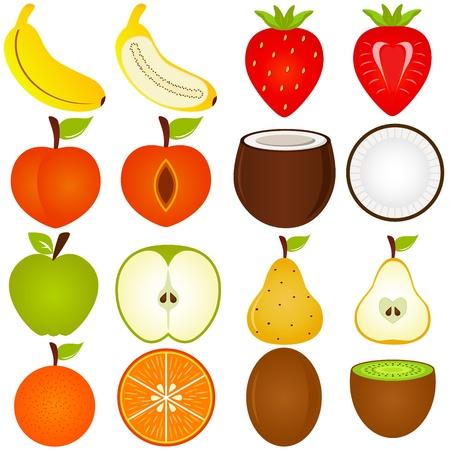 orange cut: Una colecci�n de vectores de corte de fruta fresca en el medio aislado en blanco