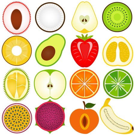 A vector collection of Fresh fruit cut in half isolated on white Stock Vector - 12184906