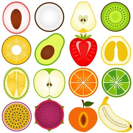 manzana caricatura: Una colecci�n de vectores de corte de fruta fresca en el medio aislado en blanco