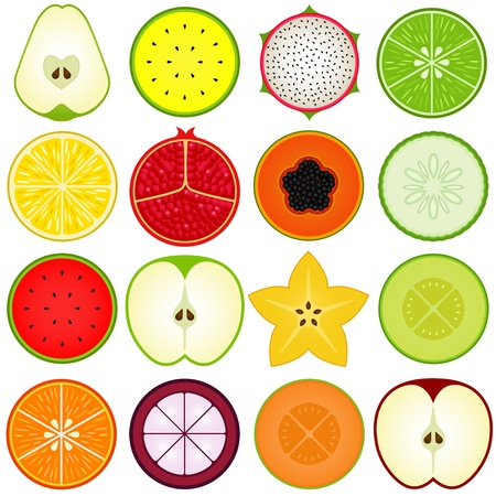 A vector collection of Fresh fruit cut in half isolated on white  Vector