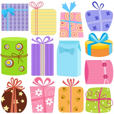 A set of simple and cute vector Icons : Gift Boxes (present), pastel color isolated on white  Иллюстрация