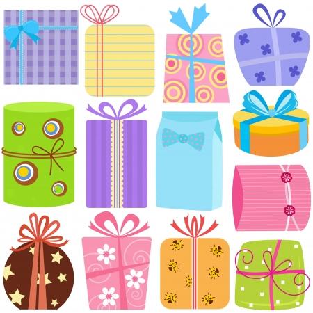 present: Eine Reihe von einfachen und netten Vektor-Icons: Geschenkboxen (Gegenwart), Pastell-Farben auf Wei�