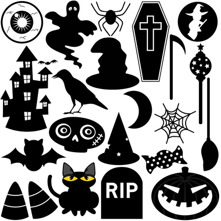 gravestone: Halloween Festival Theme, silhouette Icons  Design Elements Illustration