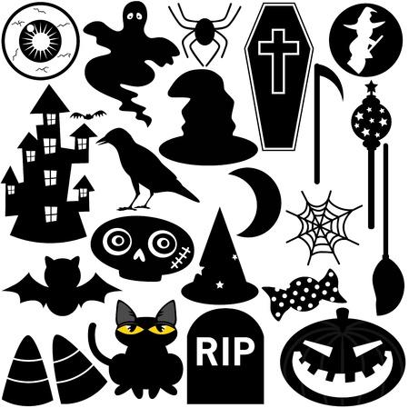 Halloween Festival Theme, silhouette Icons  Design Elements Иллюстрация
