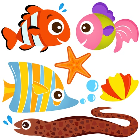 A colorful set of cute Animal Vector Icons : Fish and Sea life  Vector