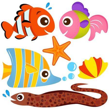 Un conjunto de colores de los iconos lindos animales vectoriales: peces y organismos marinos Ilustración de vector