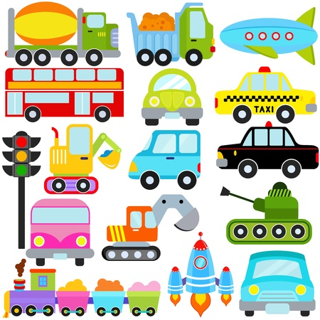 Een set van leuke Vector Icons: Auto  Voertuigen  Transport
