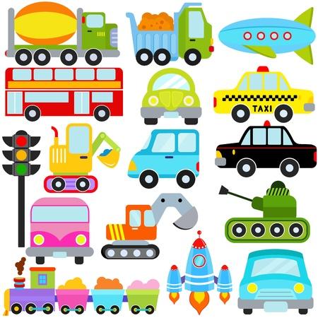 zug cartoon: Eine Reihe von niedlichen Vector Icons: Auto  Fahrzeuge  Transport