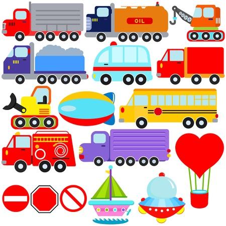camion pompier: Un ensemble d'icônes vectorielles mignons: Voiture et véhicules de transport Illustration