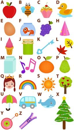 kids abc: Volver a la escuela: Un conjunto de Alfabeto del vector que representa la A a la Z - Diccionario para ni�os
