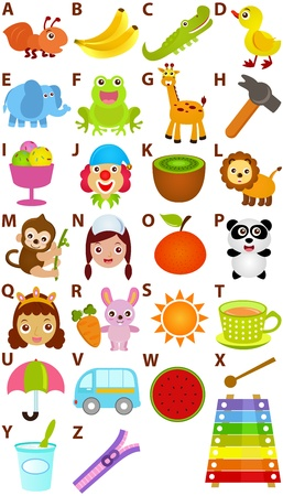 Ritorno a scuola: un insieme di Alphabet vettore che rappresenta A alla Z - Dizionario for Kids